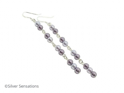 Long  Purple Swarovski Pearls & Sterling Silver Chain Earrings
